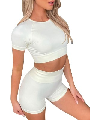 Dazzling Off-White Round Collar Crop Yoga Top Two-Piece Form Fit
