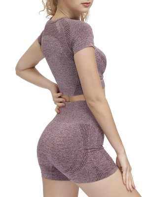 Allover Dull-Red Seamless Sports Suit High Waist Ultra Sleek