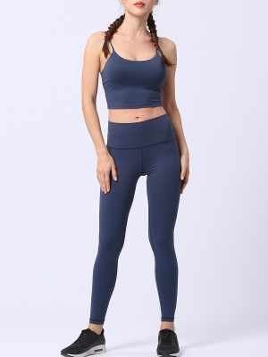 Vivid Flawless Dark Blue Open Back Bra Wide Waistband Leggings
