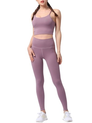 Slimming Purple Sling Tank Top Full Length Leggings For Runner