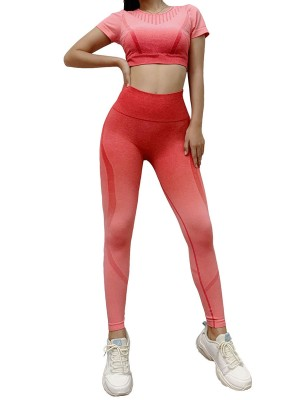 Slimming Fit Red Gradient Seamless Crop Activewear Set For Girl