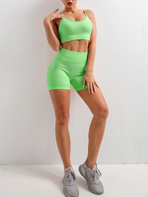 Invigorative Green Seamless Spaghetti Strap Crop Sports Suit Holiday