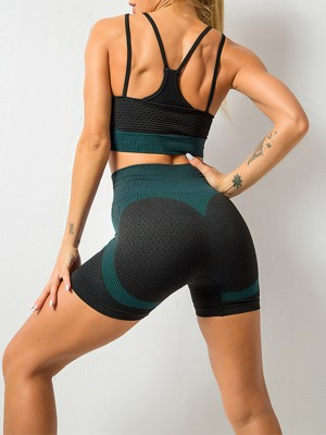 Graceful Blackish Green Seamless Athletic Suit High Waist Fashion