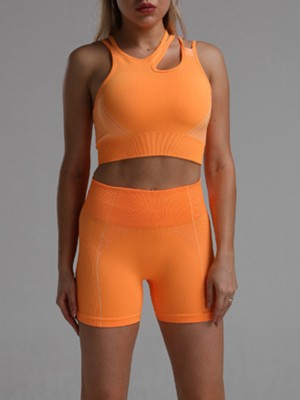Daring Orange Hollow Out Sports Suit Thigh Length Close-Fitting