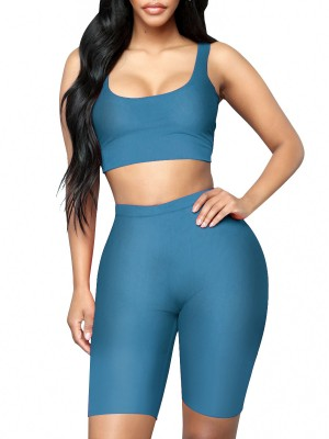 Sporty Blue Sleeveless Yoga Bra High Rise Shorts Elasticity