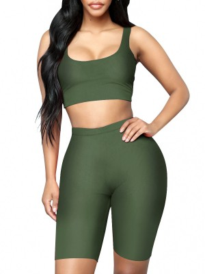 Exquisite Army Green Crop Sleeveless Yoga Suit Scoop Neck