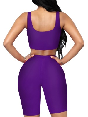 Sensual Curves Purple Solid Color Cropped Sports Two-Piece