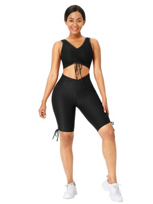Black Drawstring Athletic Suit High Waist Form Fitting