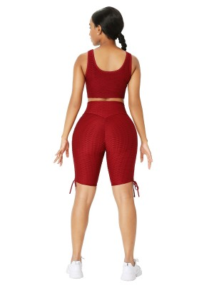 Wine Red Wide Strap Thigh Length Sweat Suit For Women Runner
