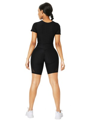 Black Crew Neck Sheer Mesh Running Suit Running Outfits