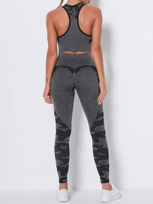 Must-Have Black Seamless Racerback High Waist Sweat Suit Workout Apparel