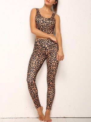 Feisty Brown Leopard Printed Yoga Wear High Rise Soft-Touch