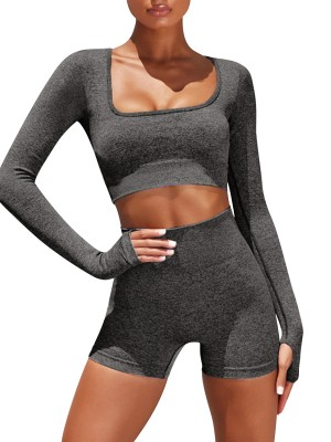 Trendy Gray Crop Yoga Top With High Waist Shorts Best Materials