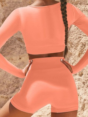 Simplicity Orange Long Sleeves Yoga Suit Tummy Control Unique