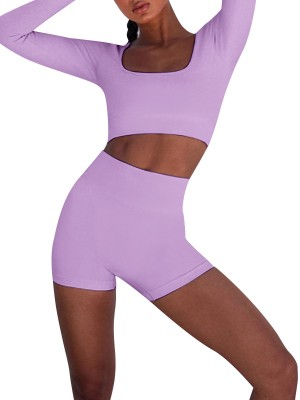 Sultry Purple Square Neck Yoga Top And Shorts Set Female Elegance
