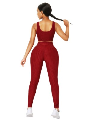 Wine Red Crop Yoga Top And High-Waist Leggings Stretchy Fabric
