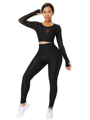 Black Mesh Splice Yogawear With Thumb Holes Running Outfits