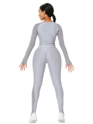 Gray Full-Length Jacquard Mesh Yoga Suit Training Apparel