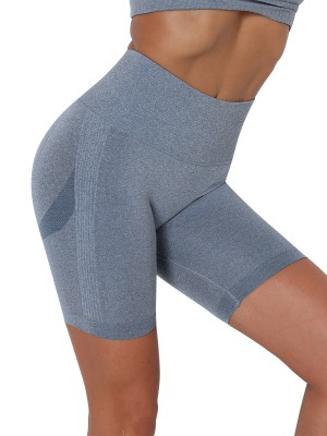 Blue Thigh Length Seamless Yoga Shorts Women's Clothes