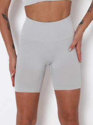 Light Gray Thigh Length Solid Color Running Shorts Ladies Activewear
