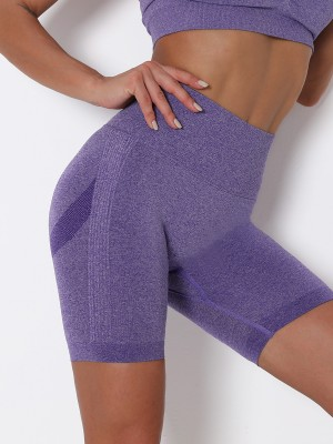 Purple Solid Color Thigh Length Sports Shorts Understated Design