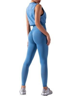 Sky Blue Running Suit Ruched Round Collar Seamless Elastic Material