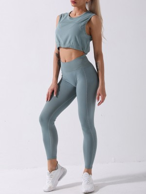 Green Athletic Suit Cropped Spot Print Pleated Trendy Style