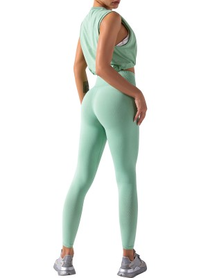 Light Green Ankle Length Solid Color Running Suit For Woman