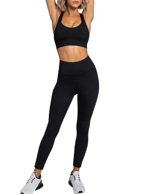 Black Sweat Suit U-Neck Racerback Solid Color For Workout