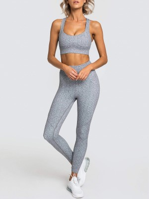 Gray Wide Waistband Running Suit Ankle Length Sensual Silhouette