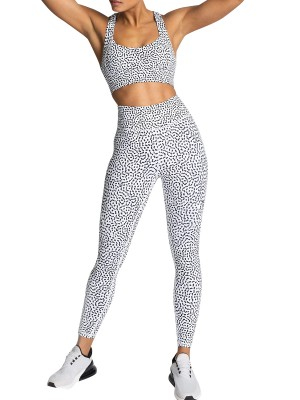 Polka Dots Running Suit Wide Waistband Sensual Silhouette