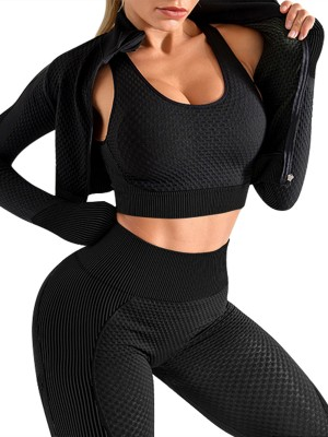 Black 3 Pcs Sports Suit Solid Color Ankle Length Fashion Trend