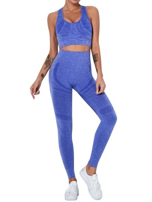 Blue Solid Color Mesh Splice Seamless Yogawear Activewear
