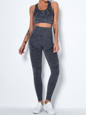 Deep Gray U Neck High Waist Yoga Suit Hollow Out Stretched