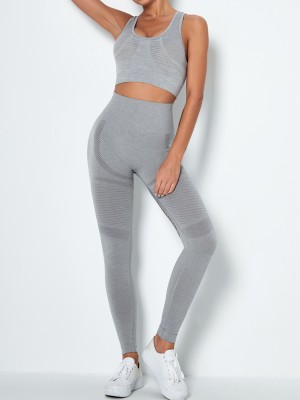 Light Gray Mesh Splice Seamless Yoga Suit U Neck Women Fashion