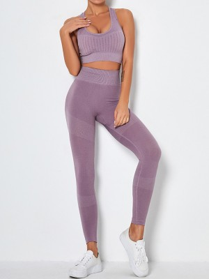 Light Purple Removable Pads Yoga Bra Seamless Legging Leisure