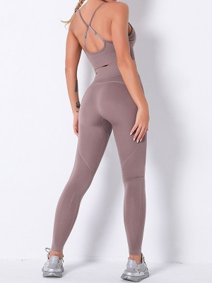 Pink High Waist Seamless Pockets Sports Suit For Fitness