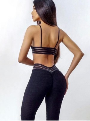 Black Seamless Yoga Bra High Waist Legging Set Slim Legs