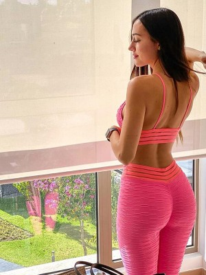 Red Seamless Yoga Suit High Waist Jacquard High Elastic
