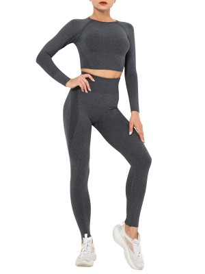 Black Running Suit Round Collar Seamless Knit Form Fitting
