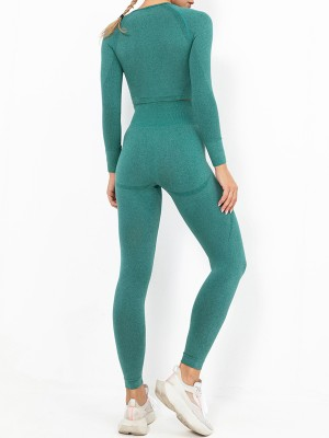 Dark Green Sweat Suit Full Length Wide Waistband For Women Runner