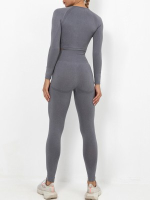 Gray Sports Suit Solid Color Wide Waistband Simplicity