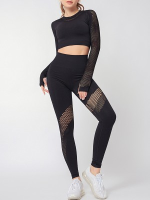 Black Thumb Holes Knit Yoga Suit Round Neck Lightweight