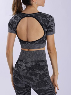 Black Camouflage Print Short Sleeves Yoga Suit For Workout