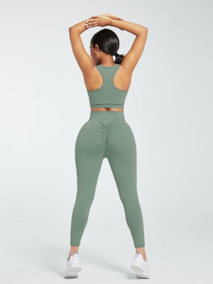 Green Deep-V Ankle Length Gym Leggings And Top Set Fitness