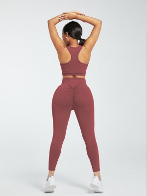 Jujube Red Running Suit Solid Color High Rise For Workout