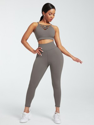 Gray Sports Sets Low Back Wide Waistband Pockets For Lounging