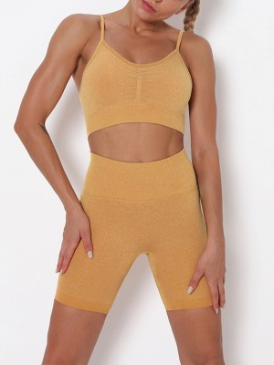 Yellow Seamless Thigh Length Athletic Suit Feminine Confidence