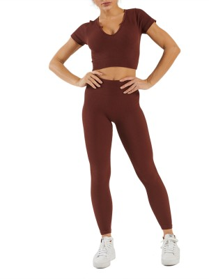 Coffee Short Sleeve Crop Tops And Seamless Leggings Stretchy Fabric