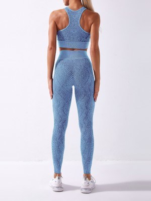 Sportive Light Blue Snake Print Round Collar Running Suit Breathable
